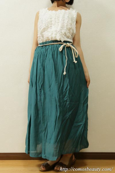 【楽天市場】オシャレウォーカーのフリルタンク×ふわさらロングスカート