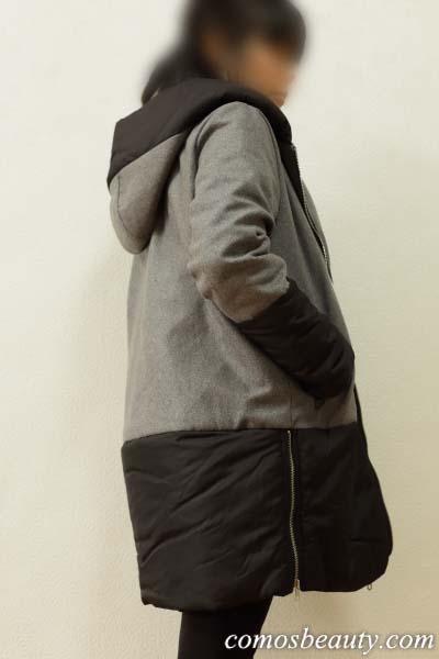 Doresuwe秋帽子フード付きパッチワークデザインジップアップレディースアウターコート